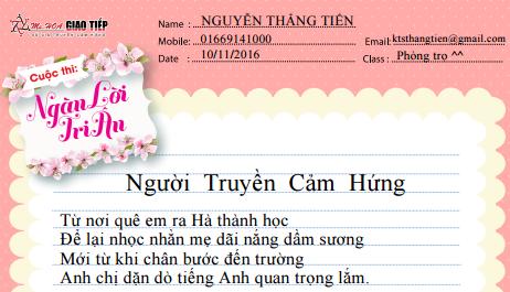 Nguyễn Thắng Tiến - Cô giảng bài thật hay đến lạ - Truyền cho em cảm hứng diệu kỳ - Và thời gian, tự bao giờ em đã - Yêu tiếng anh, và yêu luôn cô giáo ^^