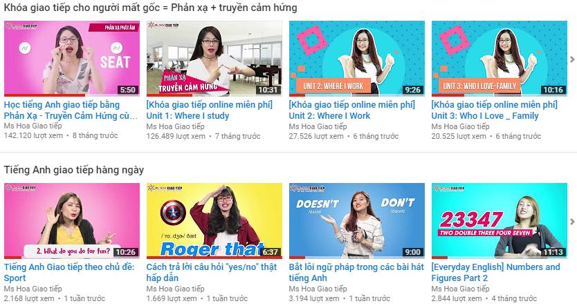 Kênh youtube học tiếng Anh Giao tiếp MIỄN PHÍ theo phương pháp Phản Xạ Truyền Cảm Hứng
