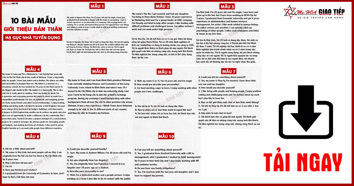 10 Mẫu Giới Thiệu Bản Thân Bằng Tiếng Anh (Cực Chất)