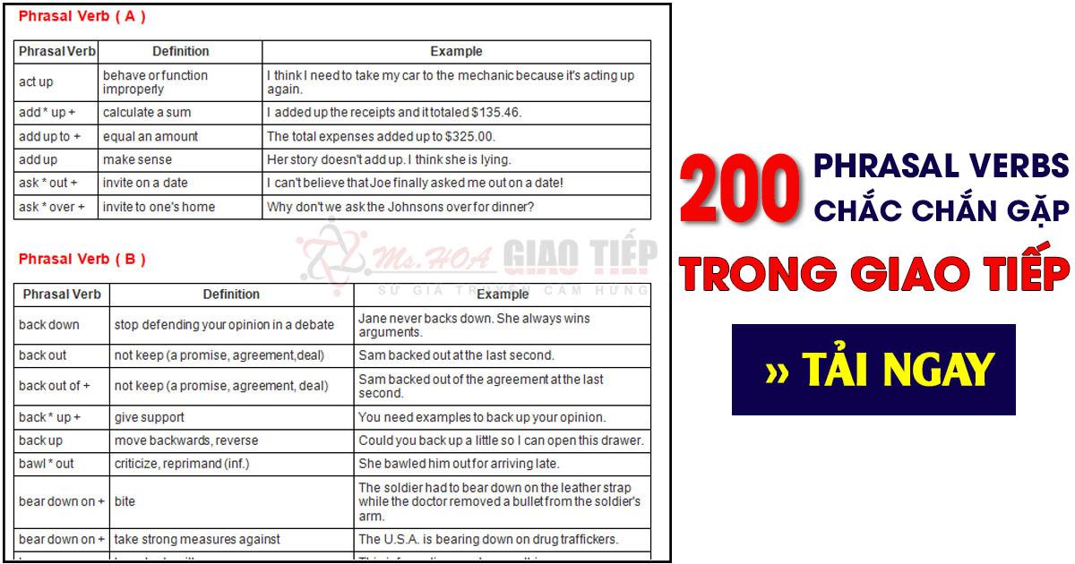 Phrasal verb là gì? Trọn bộ 200 phrasal verbs thông dụng nhất