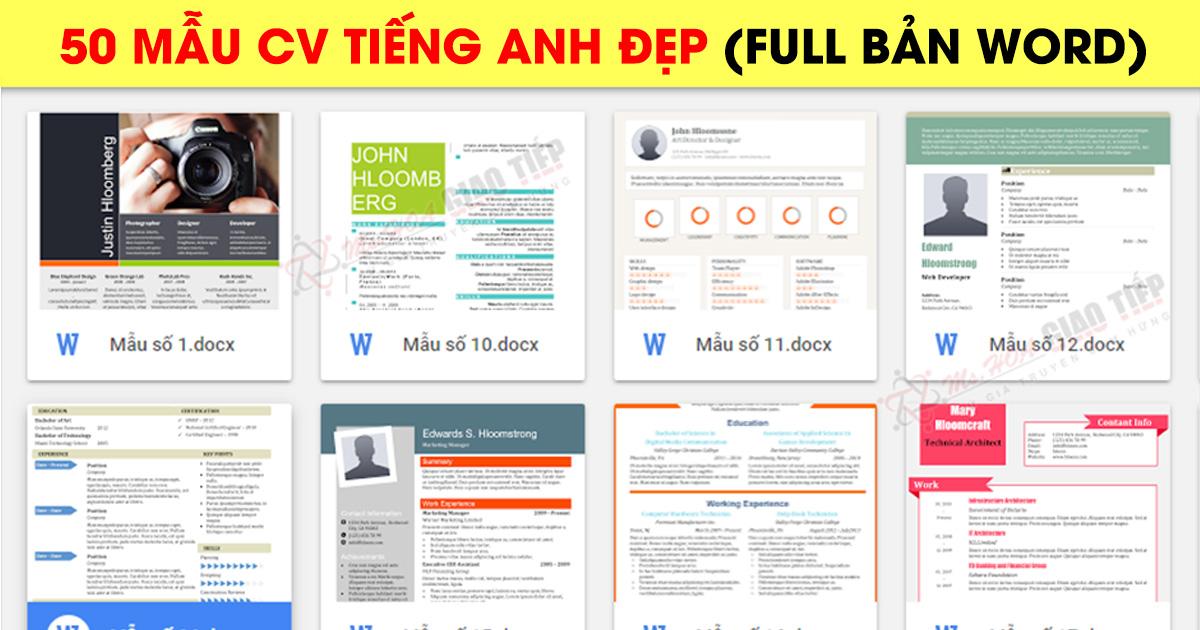Top 50 CV tiếng Anh giúp bạn