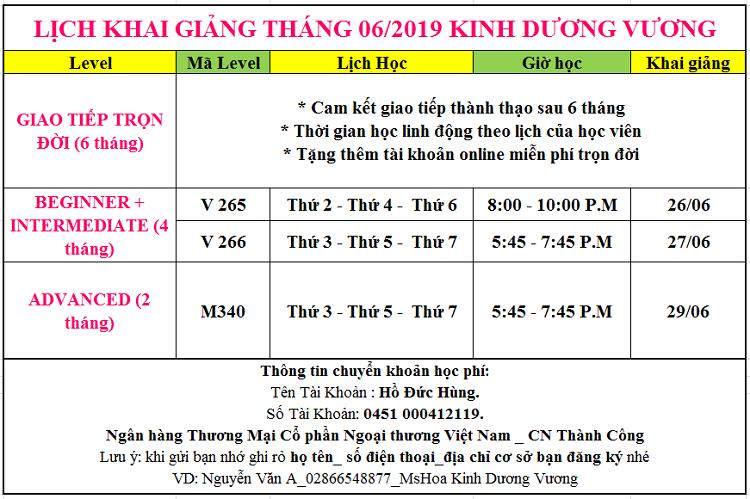 Lịch khai giảng tháng 6 tại Kinh Dương Vương Quận 6