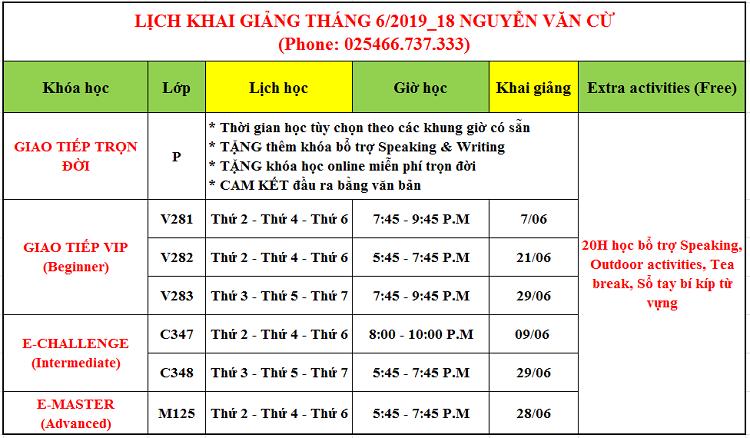 Lịch khai giảng tháng 6 tại Long Biên