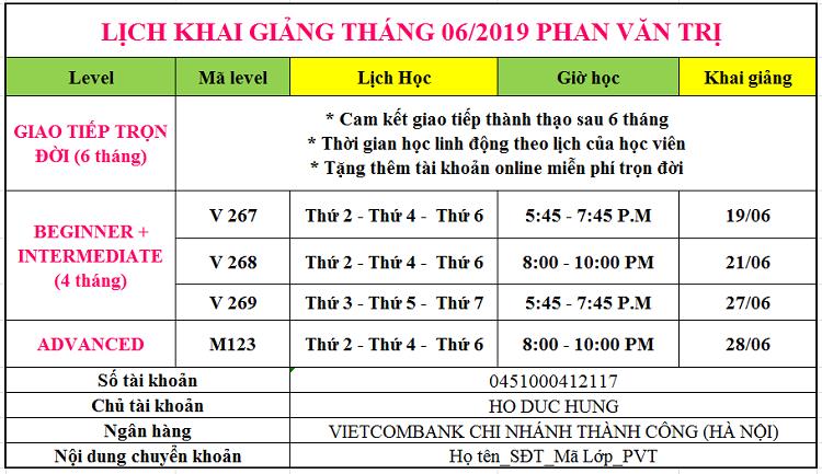Lịch khai giảng tháng 6 Phan Văn Trị