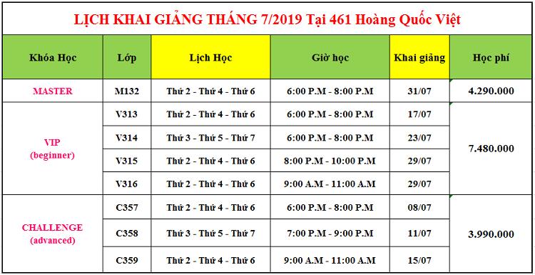Lịch khai giảng tháng 7 tại Hoàng Quốc Việt