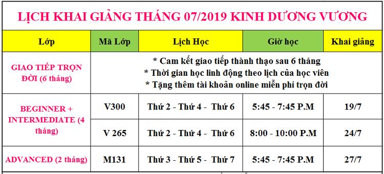 Lịch khai giảng tháng 7 tại Kinh Dương Vương Quận 6