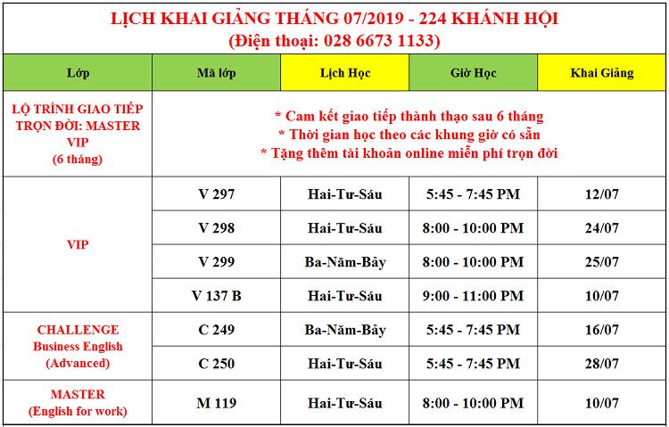 Lịch khai giảng tháng 7 tại Khánh Hội