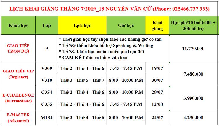 Lịch khai giảng tháng 7 tại Long Biên