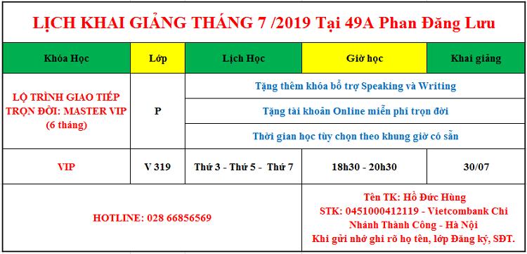 Lịch khai giảng giao tiếp tháng 7 tại Phan Đăng Lưu