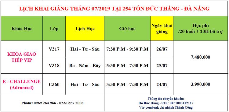 Lịch khai giảng tháng 7 tại 254 Tôn Đức Thắng, Đà Nẵng