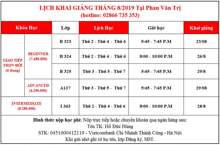 Lịch khai giảng tháng 7 Phan Văn Trị