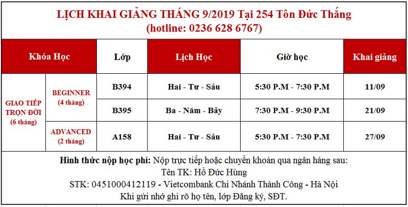 Lịch khai giảng tháng 9 tại 254 Tôn Đức Thắng, Đà Nẵng