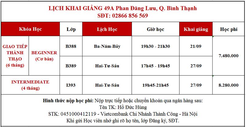 Lịch khai giảng giao tiếp tháng 9 tại Phan Đăng Lưu