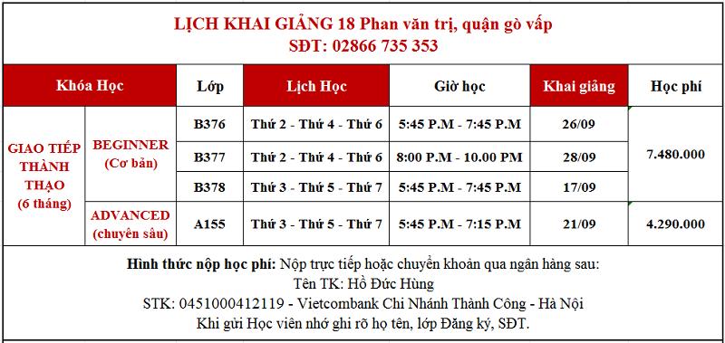 Lịch khai giảng tháng 9 Phan Văn Trị